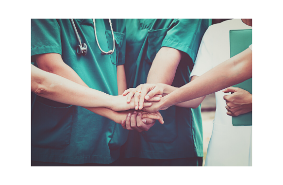 a picture with people putting their hand on top of each other nurses prayer support
